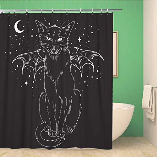 Awowee Decor Duschvorhang, gruselige Schwarze Katze Monster Flügel über Nachthimmel Mond 180 x 180 cm, Polyester Stoff wasserdicht Badvorhänge Set mit Haken für Badezimmer