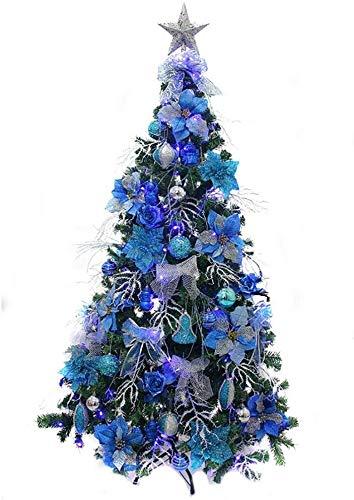 WKLIANGYUANPING Árbol de Navidad Árbol de Navidad Artificial de Plata Azul, Luces LED y Metalstand Pre-Decoradas Árbol Decorado Multicolor (Color : Blue, Size : 5Ft(150CM))