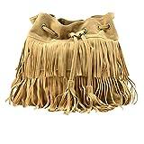 Buddy Hippie - Bolso bandolera de ante con borlas y flecos para mujer, Caqui (Caqui), Talla única