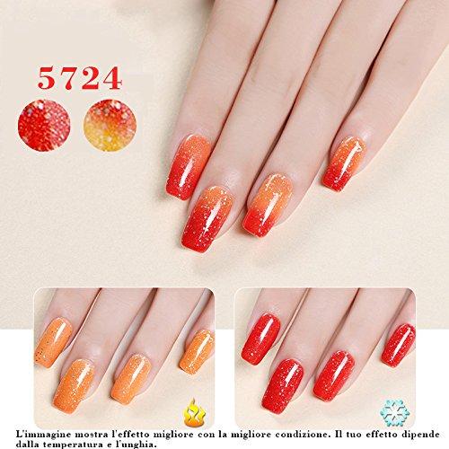 JOLIGEL Smalto Gel di Unghie per Manicure UV LED Camaleonte Semipermanente Soak-off, cambia colore con la temperatura, 10ml, 5724, Arancione e Rosso con effetto costellato
