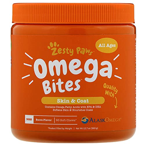 Zesty Paws Omega 3 Alaskan Fish Oil Chew Treats for Dogs - with AlaskOmega...
