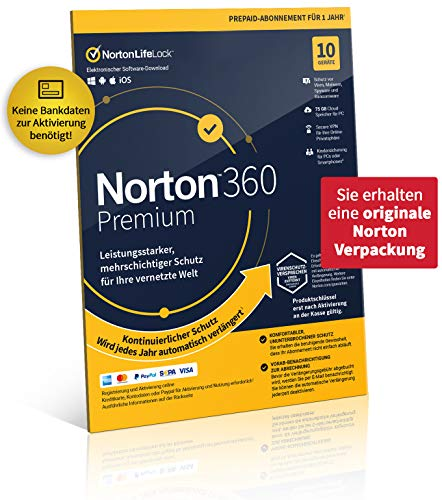 Norton 360 Premium 2021 | 10 Geräte | 1-Jahres-Abonnement mit Automatischer Verlängerung | Secure VPN und Passwort-Manager | PC/Mac/Android/iOS | Aktivierungscode in Originalverpackung
