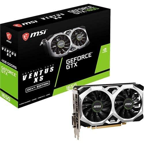 MSI Gaming GeForce GTX 1650 128-Bit HDMI DP DVI 4GB GDRR6 HDCP Support DirectX 12 VR Ready OC Graphics Card (GTX 1650 D6 Ventus XS OCV1)