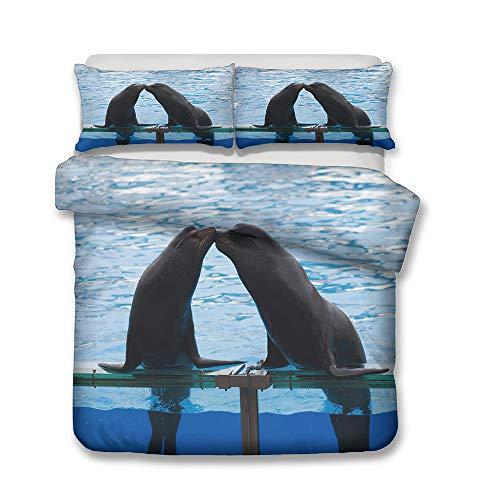 Fansu Bedding Duvet Cover Sets 3d Dolphin, Whale, Sea Lion, Complete Set Duvet Cover Pillowcase, Polyester Microfiber Zip Easy Care Single Double King Size Bed (kiss,pillowcase 50 * 70cm (1pc))