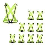 AIEOE - Set de 10 Chaleco Reflectante de Seguridad Cinturón Cruzado Visibilidad de Alta Elasticidad Banda Fluorescente de Cintura Chaqueta para Policía de Tráfico - Amarillo