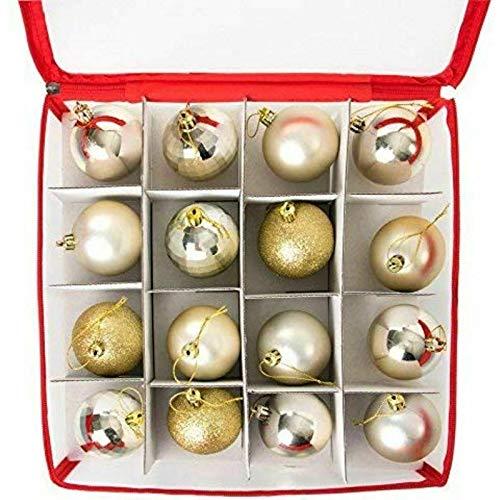 BEAUTYBIGBANG Aufbewahrungsboxen für Weihnachtskugeln Weihnachtskugeln mit Ablagen Faltboxen für Weihnachtsdeko 64 kleine Fächer transparent je Box Flexible Trennwände 30 * 30 * 30CM rot