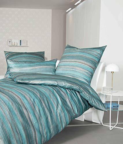 Janine Design Mako-Satin Bettwäsche Messina 43099-02 kristallblau mondnebel 1 Bettbezug 135 x 200 cm + 1 Kissenbezug 80 x 80 cm
