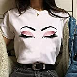 Momyeah Manga Corta Sombra de Ojos para Mujer, pestañas, Labios Rojos, Camiseta gráfica, Cuello Redondo, algodón, Manga Corta, Maquillaje Femenino, expresión Facial, 1, XXL