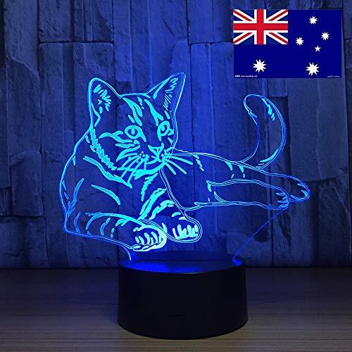 Cute Cat Night Light tact Switch Animal Light Color Slide Lamp lámpara de Mesa decoración del hogar como Regalo de Juguete para niños Fuera del Barco