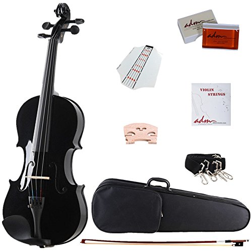ADM Acoustic Violin 4/4 Full Size Handcrafted Solid Wood Student...