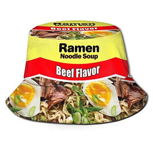 Yagi Mika Ramen Noodle Soup Beef Flavor Unisex Novelty Bucket Hat Graffiti Fishmen Cap Fashion Outdoor Accessories Yellow