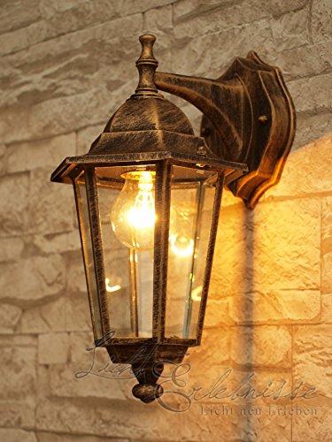 Außen Wandlampe Antik Gold E27 wetterfest 34cm hoch VELENCE Wegbeleuchtung Garten Haus Tür Eingang
