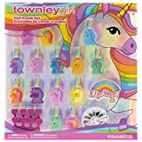 Townley Girl Unicorns and Llamacorns Non-Toxic Peel-Off Nail Polish Set for Girls, Glittery and Opaque Colors, with Nail Gems and Toe spacers, Ages 3+, for Parties, Sleepovers and Makeovers