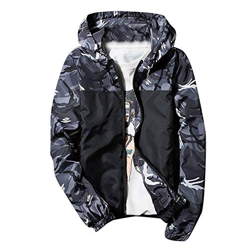 Herren Freizeit Reissverschluss Camouflage Sportswear Jacket,Leicht Jacke Outdoor-Softshelljacke Lauf-Fahrradjacke atmungsaktiv Laufjacke,Trainingsjacke,Fahrradjacke,Winddicht Sportjacke