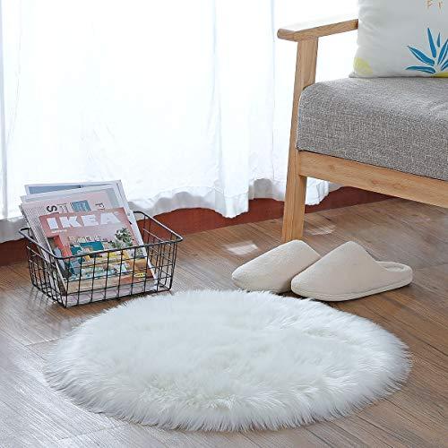 HEQUN Faux Lammfell Schaffell Teppich, Lammfellimitat Teppich Longhair Fell Optik Nachahmung Wolle Bettvorleger Sofa Matte (Weiße, 45 X 45 cm)