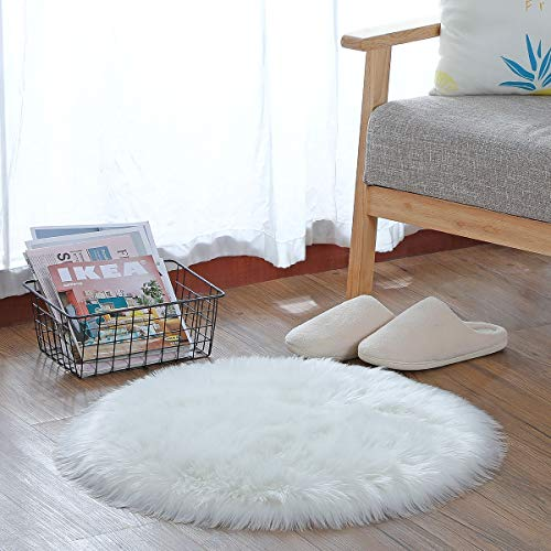 HEQUN Circular Faux Fur Sheepskin Style Rug Faux Fleece Chair Cover Seat Pad Soft Fluffy Shaggy Area Rugs For Bedroom Sofa Floor (White, 45 X 45CM)