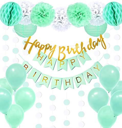 Regendeko 22er Set Mint Grün Happy Birthday Ballons Banner Pompoms Geburtstagsdeko Party Dekorationen geburtstagsdeko Kinder