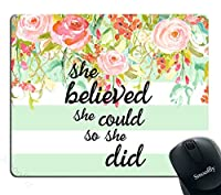 Smooffly Gaming Mouse Pad Custom,She Believed She Could Mint Stripe Mouse Pad - Neoprene Inspirational Quote Mousepad [並行輸入品]