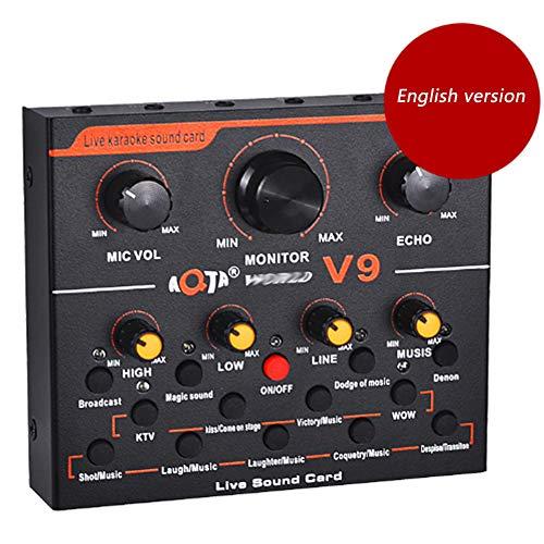 Tarjeta de sonido V9 portátil, tarjeta de sonido V9, convertidor de voz, chip de reducción de ruido Dsp dual, mezclador de audio, múltiples efectos divertidos, adecuado para juegos de computadora m