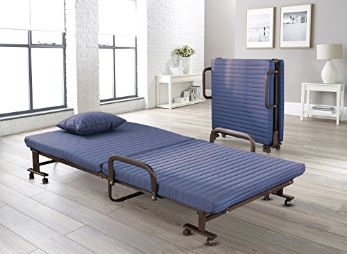 Vesgantti Folding Away Guest Single Beds with Mattresses Foldable Lounge Chair with Adjustable Backrest and Free Pillow (Blue, 190 * 80)