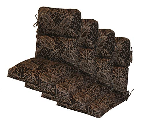Comfort Classics Inc. Set of 4 Outdoor CHANNELED Black Leaves High Back Patio Chair Cushion 21W x 44L x 4.5 H in Spun Polyester.