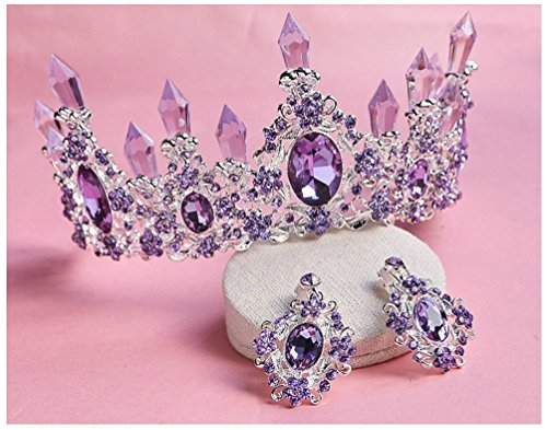 Crystal Tiara Wedding Birthday Crown Bridal Tiara Accessories Rhinestone with Earring (Purple)