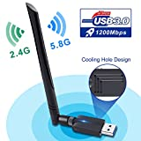 WiFi Adattatore,USB 3.0 WiFi Dongle 1200 Mbps Dual Band 5.8G/2.4GHz 802.11AC Wireless Rete...