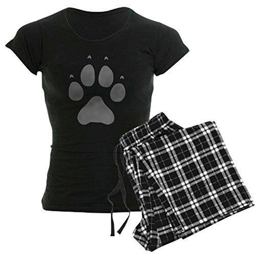 CafePress Wolf Paw Print Women's Dark Pajamas Womens Novelty Cotton Pajama Set, Comfortable PJ Sleepwear