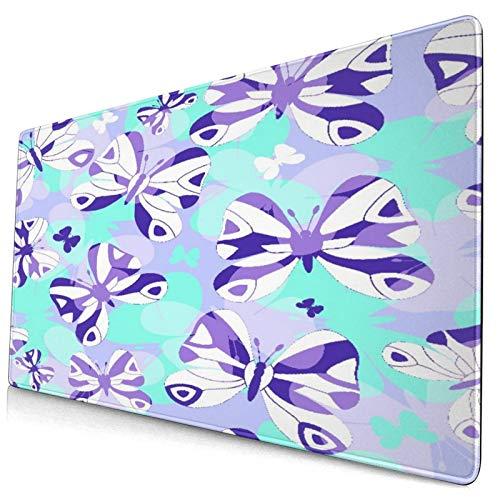 品牌 Alfombrilla de ratón Decorativa Grande para Juegos,Repitiendo Mariposas violetas y Azules,Alfombrilla Larga para ratón de computadora con Base de Goma Antideslizante para Oficina/Juegos/hogar