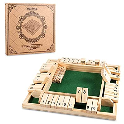 AMEROUS 12 Inches Shut The Box Family Game ( 1-4 Players ), 4 Sided Large Wooden Number Dice Board Game with 12 Dices and Shut The Box Rules for Kids, Adults