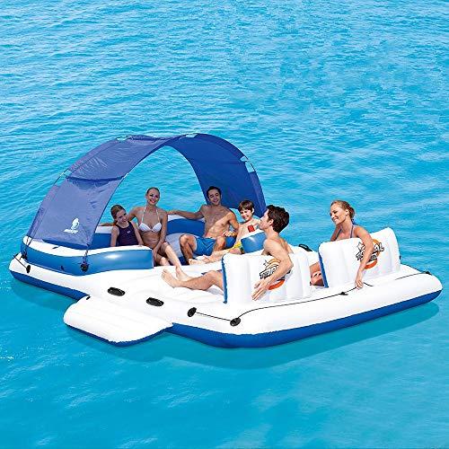 SúPer Gran Isla Flotante Sombrilla Engrosada Drenaje Flotante A La Deriva Cama Flotante Equipo De Turismo Marino Alfombra De Piscina Inflable Gigante