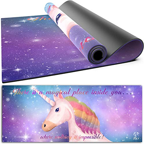 ZULY Eco Friendly Kids Yoga Mat with Free Yoga Strap, Premium Microfibre Suede W Organic Rubber Yoga Mat for kids ages 3-6 6-10 9-12 Toddlers Children Girls Boys Non Slip Exercise Mat Unicorn Design