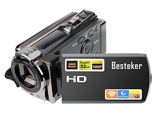 ビデオカメラ Besteker デジタルビデオカメラ HD 1080P 2400万画素 WIFI ナイトビジョン機能 16倍デジタル...