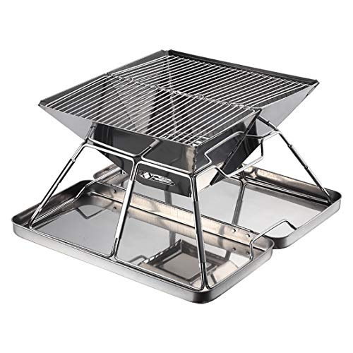 WEIJ Folding Campfire Grill, Camping Fire Pit, Outdoor Wood Stove Burner, 304 Premium Stainless Steel, Portable Camping Grill with Carrying Bag for Outdoor Backpacking Hiking BBQ