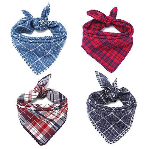 Segarty Dog Bandanas, Reversible Square Dog Scarves, Dog Kerchiefs, Plaid Cotton Linen Cloth...