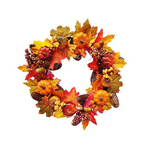 Wankd Herbst Deko Kranz Mit Ahorn Kürbis Türkranz Tischkranz Deko Wandschmuck Thanksgiving Halloween Weihnachts Blatt Dekoration Pendant Kranz (43CM)