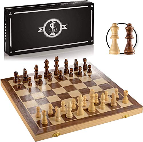 Chess Armory Magnetic Chess Set 15 inch x 15 inch - Inlaid Walnut Wooden Chess Set with Folding Chess Board, Staunton Chess Pieces, & Storage Box - Chess Set Wood Board Game