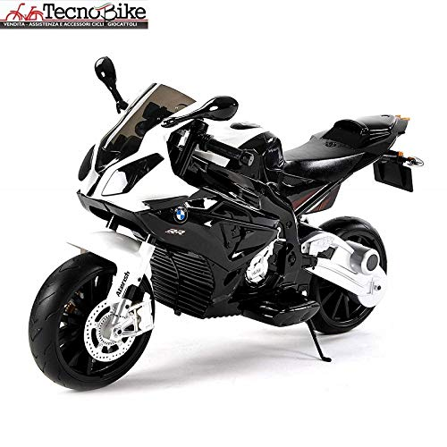 Tecnobike Shop Moto Elettrica per Bambini BMW S1000 RR 12V con Chiave Accensione Doppia velocità 2 Motori Ruote Eva Rotelle Licenza Sedile in Pelle Ufficiale BMW (Nero)