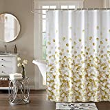 Weddecor Duschvorhang, schimmelresistent, 100 prozent Polyester, mit 12 Haken, waschbar, 180 x 200 cm, goldene Blütenblätter gemustert