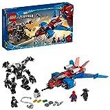LEGO Super Heroes Marvel, Le Spider-jet contre le robot de Venom, Set de jeu avec figurine de Spider-Man Noir, 158 pièces, 76150
