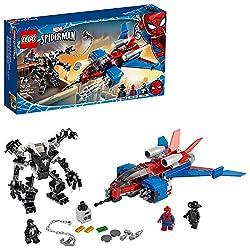 Featuresafearsome,black4-armedmechwithopeningcockpitandposablearmsandlegs,andSpider-ManNoir'sjetplanewithstudshooters Includes3minifigures:Spider-Man,theevilalienVenom,andnew-for-January-2020Spider-ManNoirforsuperher...