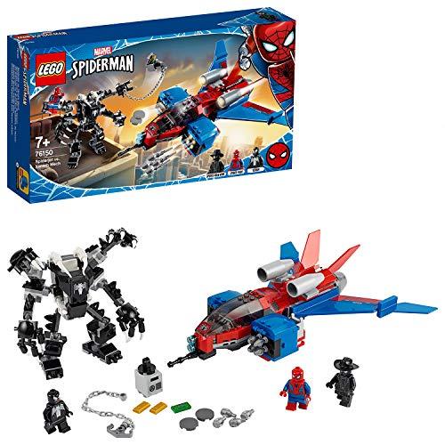LEGO 76150 Super Heroes Spiderjet vs. Venom Superhelden-Spielset für Kinder mit Minifiguren, Mech und Flugzeug angesagtes Bauspielzeug, die Marvel-Superhelden und Action-Spielsets mögen (371 Teile)