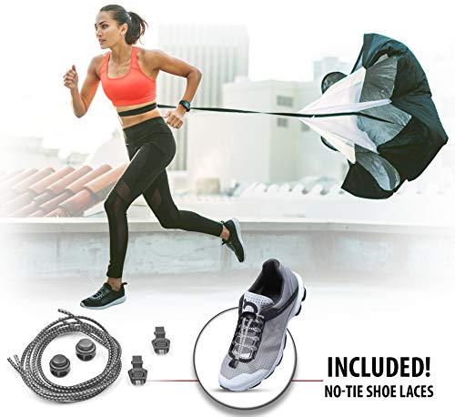 """AEROSSI Resistance and Running Parachute Speed Training Equipment for Basketball, Track, Soccer, etc– 56"""" Diameter, 36lbs Resistance, up to 42"""" Velcro Belt Bundle with No Tie Elastic Shoe Laces"""