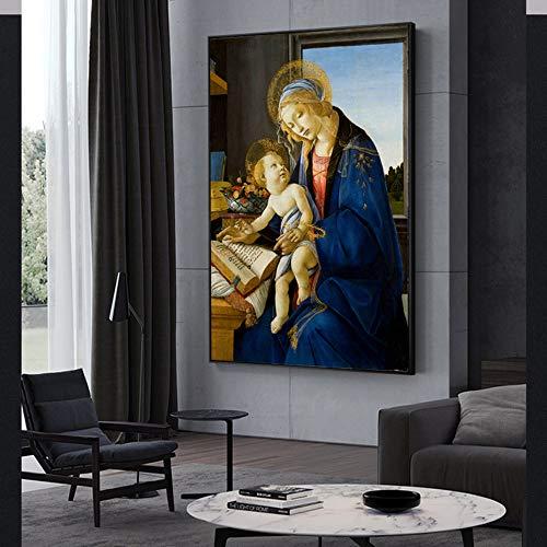 Sandro Botticelli-La Virgen y el niño Pinturas sobre lienzo en la pared La Virgen del Libro Famosos Cuadros Reproducción DecoraciónDecoracion
