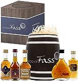 probierFass Cognac Geschenk | 5 Cognac Klassiker (4 x 0.05l - 1 x 0.03l) verpackt in einem originellen Fass mit Geschenkverpackung -