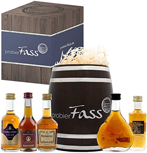 probierFass Cognac Geschenk | 5 Cognac Klassiker (4 x 0.05l - 1 x 0.03l) verpackt in einem originellen Fass mit Geschenkverpackung