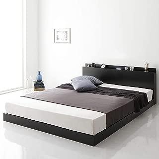 ベッド 低床 ロータイプ すのこ 木製 LED照明付き 棚付き 宮付き コンセント付き シンプル モダン ブラック ダブル ベッドフレームのみ