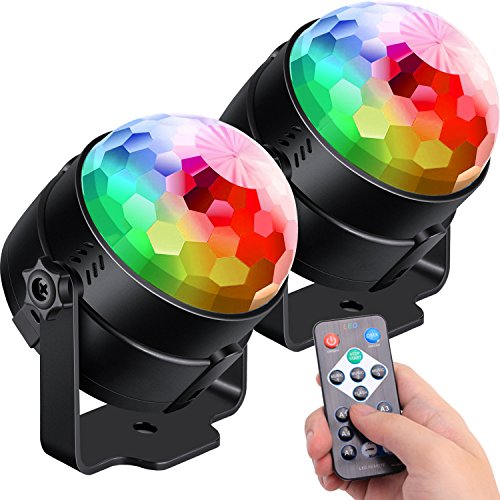 [2-Pack] Sound Activated Party Lights with Remote Control Dj Lighting, RGB Disco Ball Light, Strobe Lamp 7 Modes Stage Par Light for Home Room Dance Parties Bar Karaoke Xmas Wedding Show Club