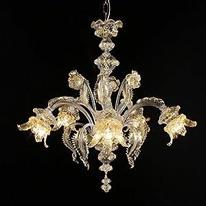 Chepe - Lámpara de araña de cristal de Murano con 5 luces, cristal dorado