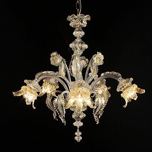 Cheope 5 lumiéres en verre de Murano or